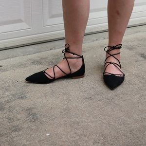 Lace Up Pointed Suede Flats